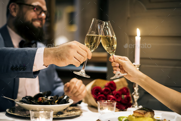 Couple celebrate valentine's day together - Stock Photo - Images