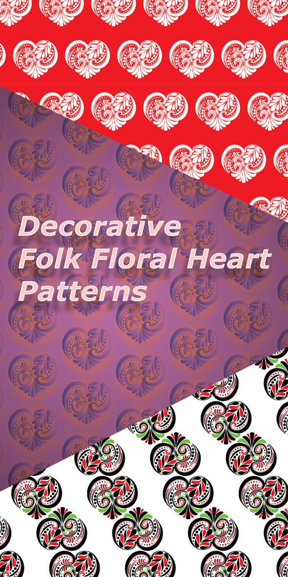 Decorative Folk Floral Heart Patterns - Artistic Textures / Fills / Patterns