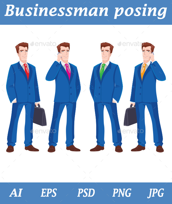 Businessman Set Vector - People Characters