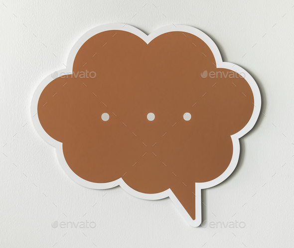 Conversation speech bubble cut out icon - Stock Photo - Images