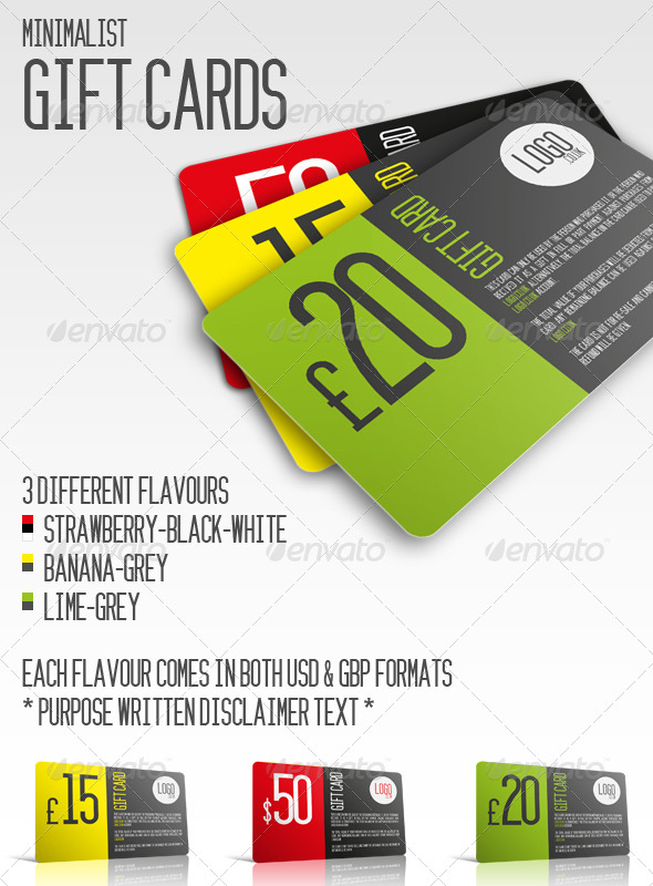 Minimalist Gift Cards - Miscellaneous Print Templates