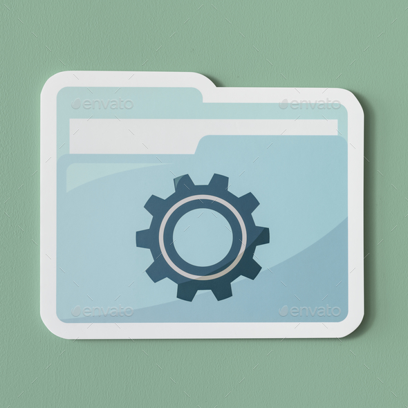 Paper cut out settings folder icon - Stock Photo - Images