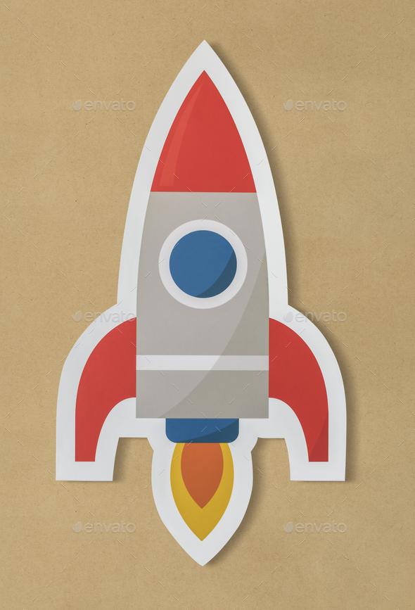 Business launching rocket ship icon - Stock Photo - Images