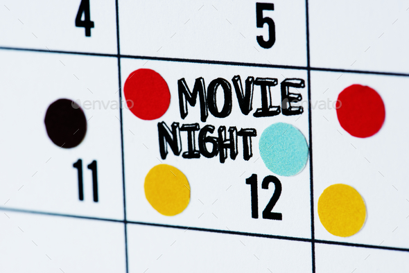 Movie night calendar reminder - Stock Photo - Images