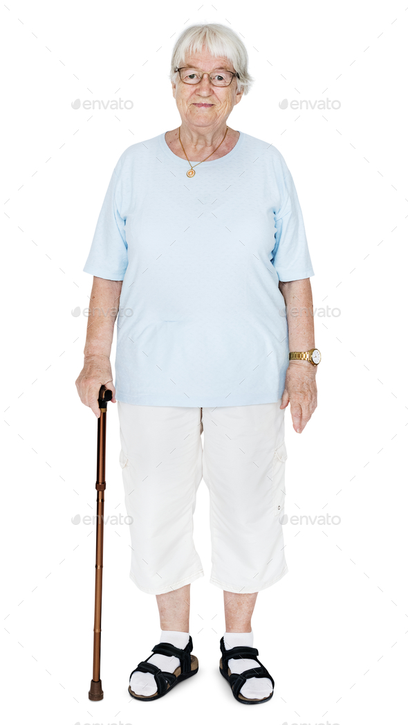 Portrait of an elderly woman isolated on white background - Stock Photo - Images