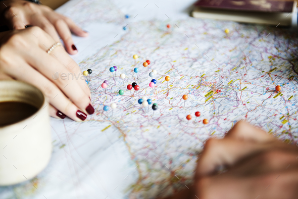 trip planning with map - Stock Photo - Images