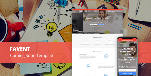 Image of Favent - Coming Soon Responsive Template