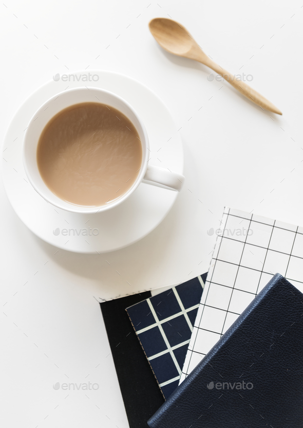 Aerial view of coffe cup with notepads - Stock Photo - Images