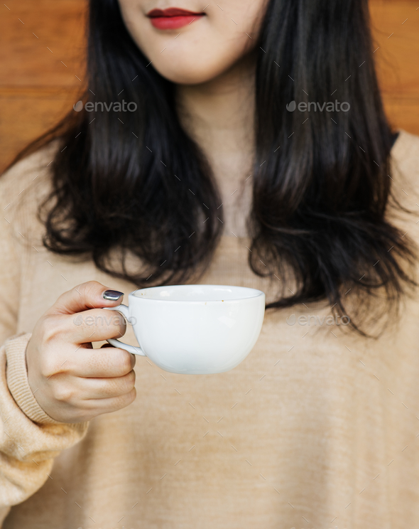 Woman enjoying coffee on the weekend - Stock Photo - Images