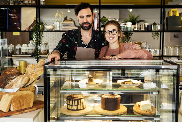 Cake cafe small business owners - Stock Photo - Images