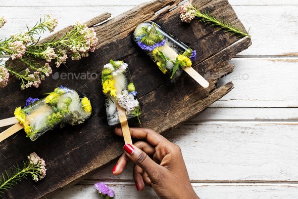 Homemade summer wildflower ice pop - Stock Photo - Images