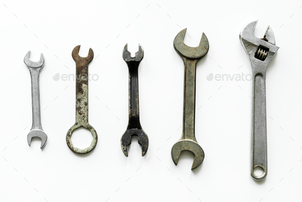 Flat lay of various wrench isolated on white background - Stock Photo - Images