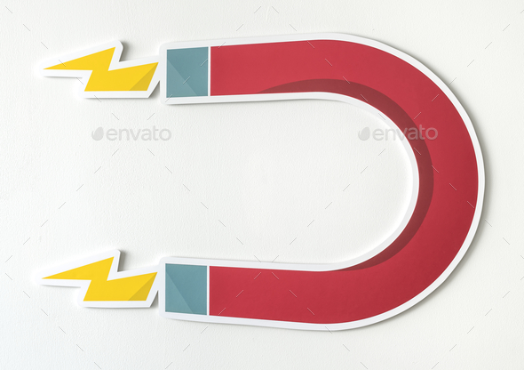 Magnet horseshoe magnetic icon isolated - Stock Photo - Images