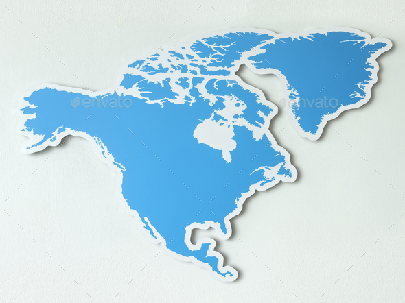 Blank map of North America - Stock Photo - Images