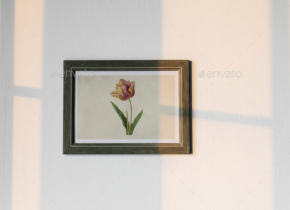 Flower photo frame hanging on white wall - Stock Photo - Images