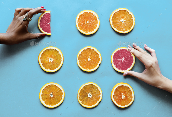 Healthy tasty sliced citrus fruits - Stock Photo - Images