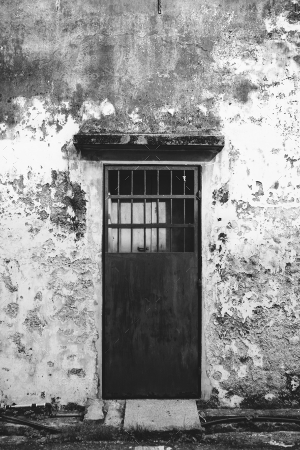 Rustic door and exterior of a house in Penang - Stock Photo - Images