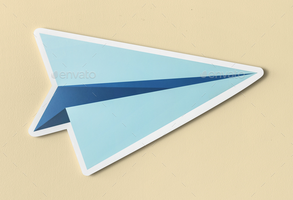 Launching paper plane cut out icon - Stock Photo - Images