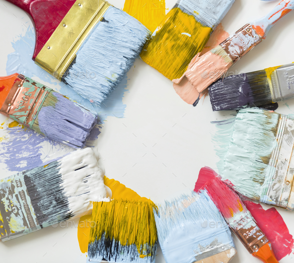 Paint brushes and colors - Stock Photo - Images