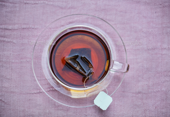 Aerial view of hot tea - Stock Photo - Images
