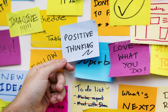 Sticky notes on an office wall - Stock Photo - Images