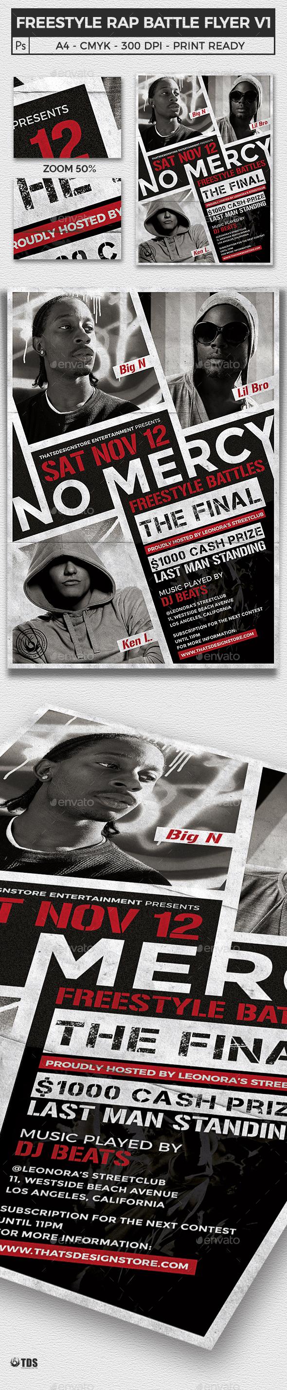 Freestyle Rap Battle Flyer Template V1 - Clubs & Parties Events