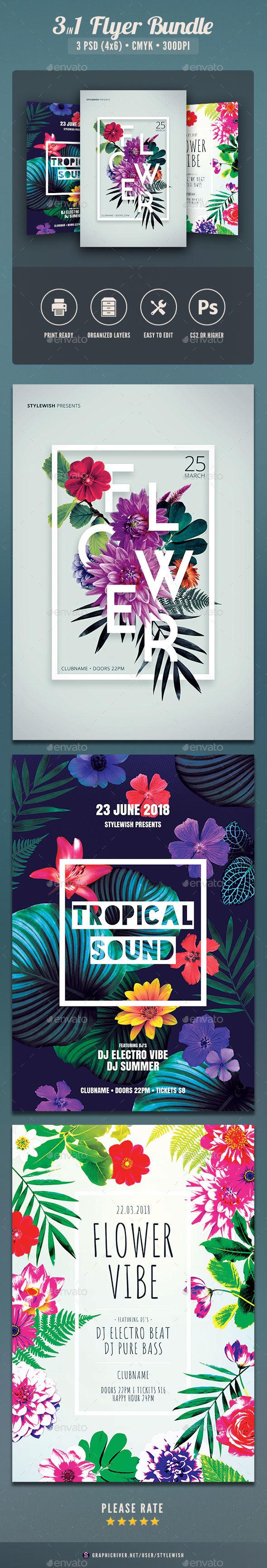 Floral Flyer Bundle - Clubs & Parties Events