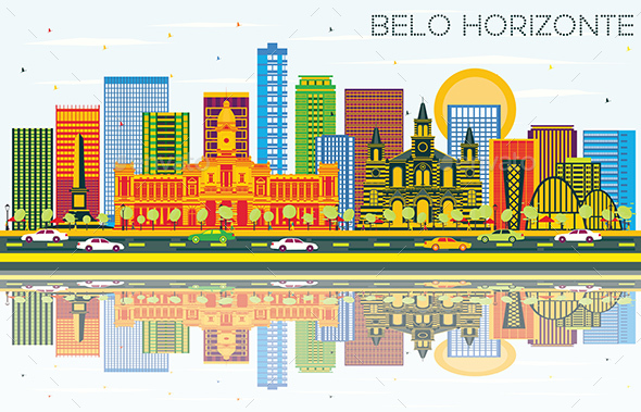 Belo Horizonte Brazil Skyline with Color Buildings, Blue Sky and Reflections. - Buildings Objects