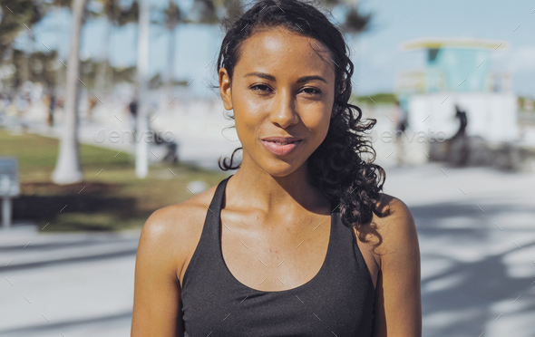 Pretty black woman in sportswear - Stock Photo - Images