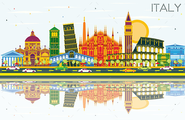 Italy City Skyline with Color Landmarks and Reflections. - Buildings Objects