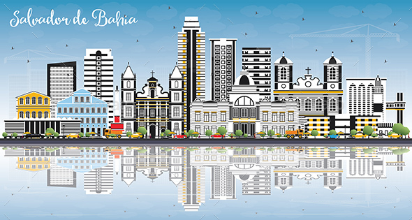 Salvador de Bahia City Skyline with Color Buildings, Blue Sky and Reflections. - Buildings Objects