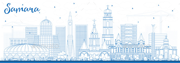 Outline Samara Russia City Skyline with Blue Buildings. - Buildings Objects