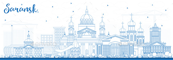 Outline Saransk Russia City Skyline with Blue Buildings. - Buildings Objects