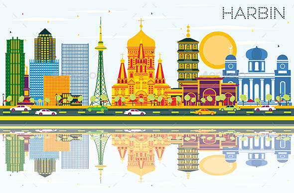Harbin China Skyline with Color Buildings, Blue Sky and Reflections. - Buildings Objects