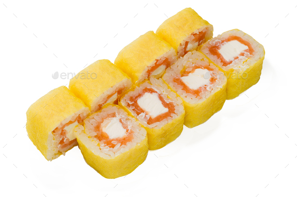 Asian cuisine. Japanese cuisine. Sushi rolls on a white background - Stock Photo - Images
