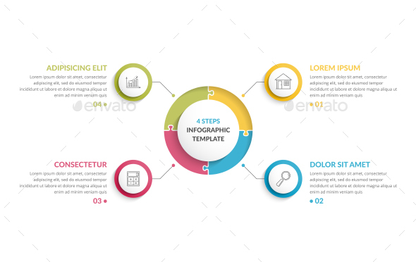 Circle Infographics - Four Elements - Infographics