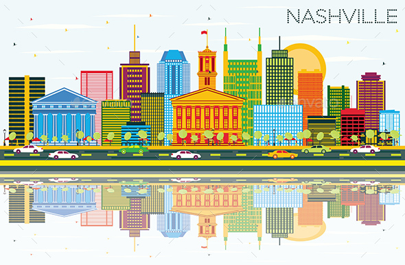 Nashville Skyline with Color Buildings, Blue Sky and Reflections. - Buildings Objects