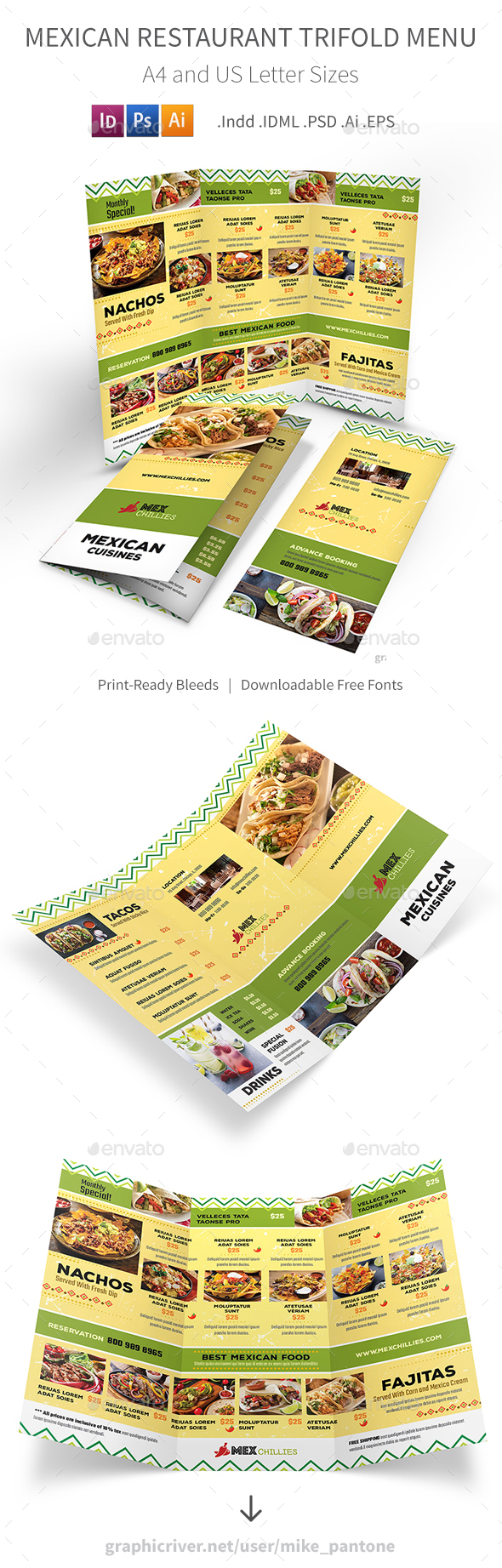 Mexican Restaurant Trifold Menu 2 - Food Menus Print Templates