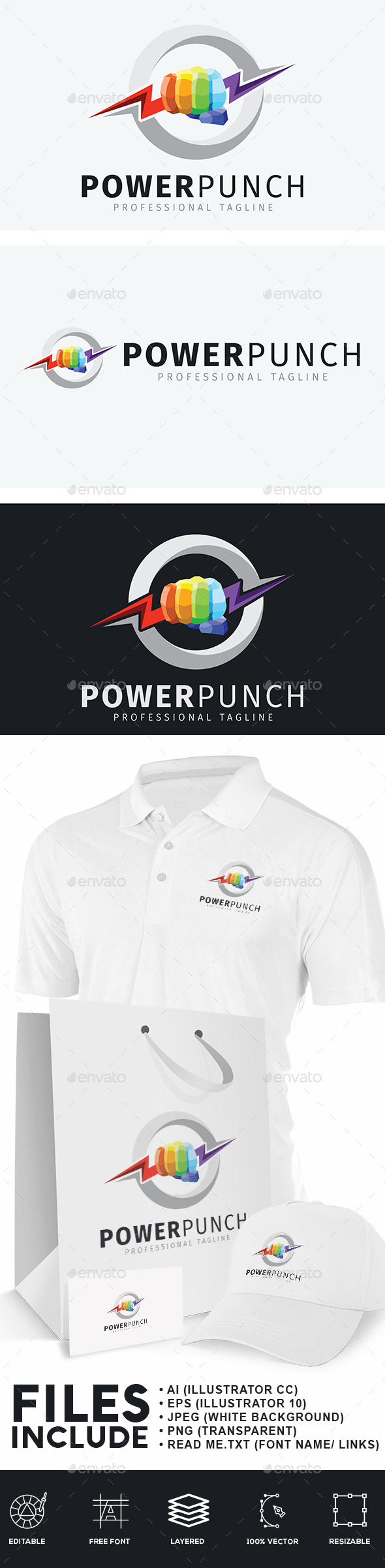 Power Punch Logo - Humans Logo Templates