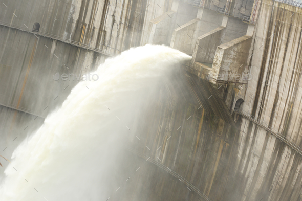 Dam discharge water during summer time  - Stock Photo - Images