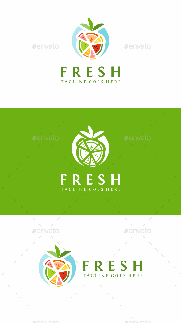 Fresh Fruits - Food Logo Templates