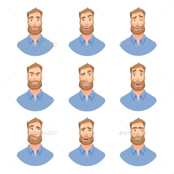 Face of Man with Beard -Set - People Characters