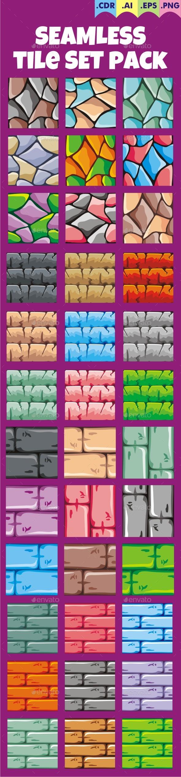 Seamless Tileset Pack 4 - Tilesets Game Assets
