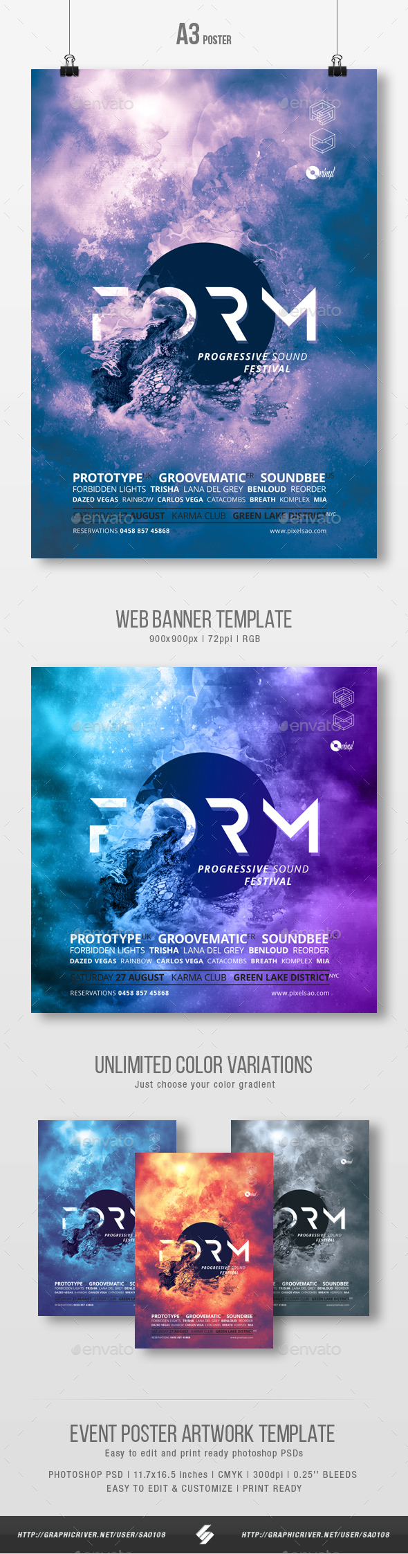 Form - Abstract Party Flyer / Poster Artwork Template A3 - Clubs & Parties Events