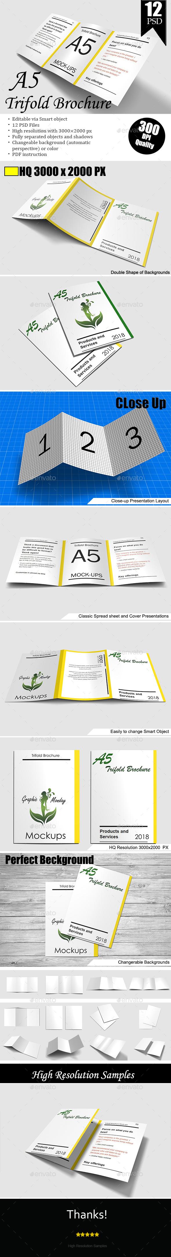 A5 Trifold Brochure Mockup Vol.2 - Brochures Print