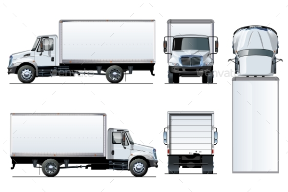 Vector Truck Template Isolated on White - Man-made Objects Objects