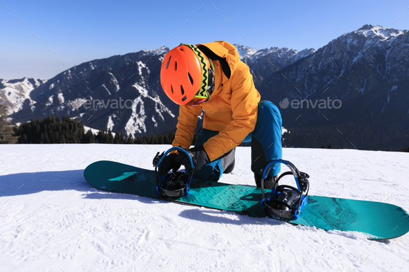 Ready to snowboarding on alpine mountain top - Stock Photo - Images