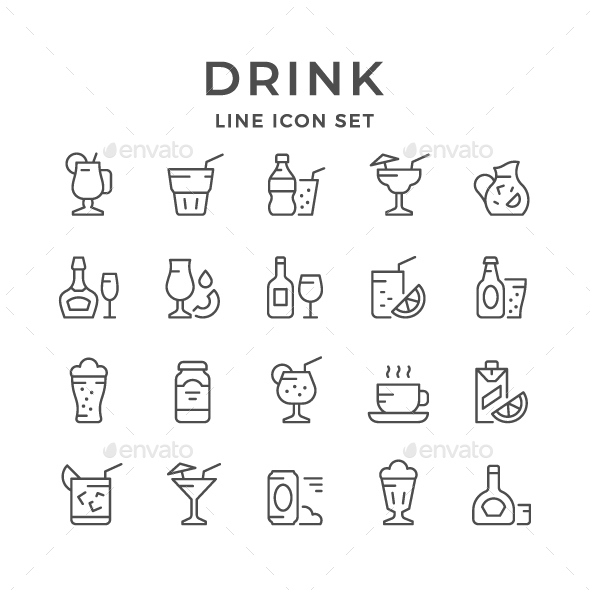 Set Line Icons of Drink - Man-made objects Objects