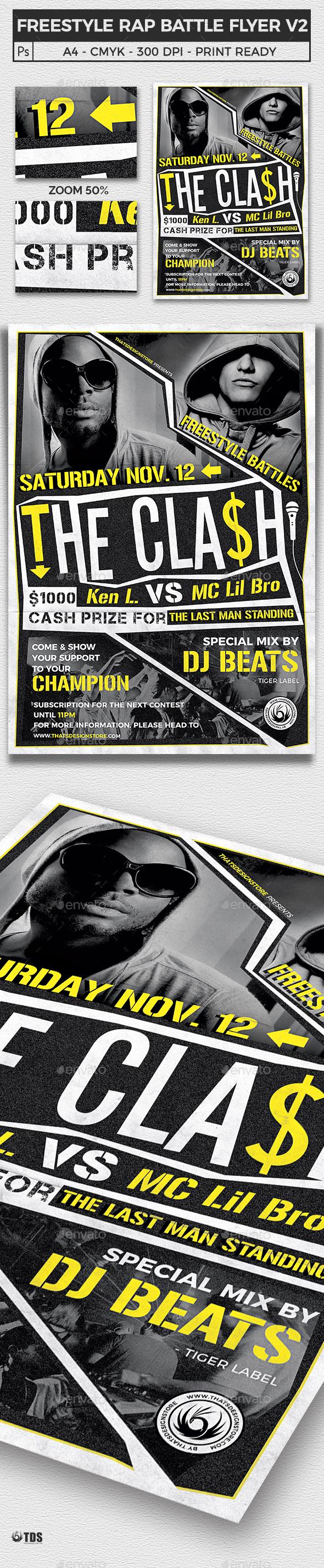 Freestyle Rap Battle Flyer Template V2 - Clubs & Parties Events