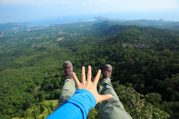 Hands reaching out the beautiful landscape - Stock Photo - Images